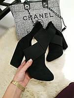 Ботильоны резинка на толстом каблуке черные, фото 1