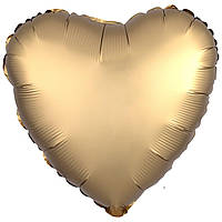 Фольгированный шар сердце сатин золото 45 см (Anagram)
