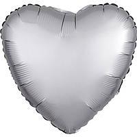 Фольгированный шар сердце сатин белое золото 45 см (Anagram)