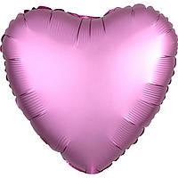 Фольгированный шар сердце сатин фламинго 45 см (Anagram)