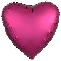 Фольгированный шар сердце сатин бургундий 45 см (Anagram)