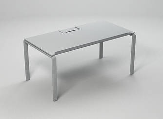 Стол офисный на металлических опорах c эрго-кромкой Enrandnepr 1411х814х740h мм белый серый