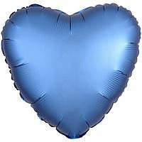 Фольгированный шар сердце сатин голубое 45 см (Anagram)