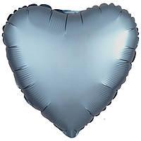 Фольгированный шар сердце сатин синяя сталь 45 см (Anagram)