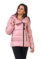 Стильная женская зимняя куртка цвет пудра
