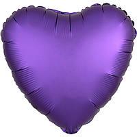 Фольгированный шар сердце сатин фиолетовое 45 см (Anagram)