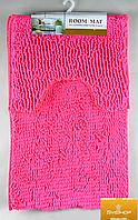 Набор ковриков в ванную комнату из микрофибры лапша ''ROOM MAT'' розовый  60х90см. и туалет 40х60см.