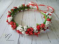 Венок на голову с цветами и ягодами Красный Белый Рождественский венок для волос ручная работа, фото 1