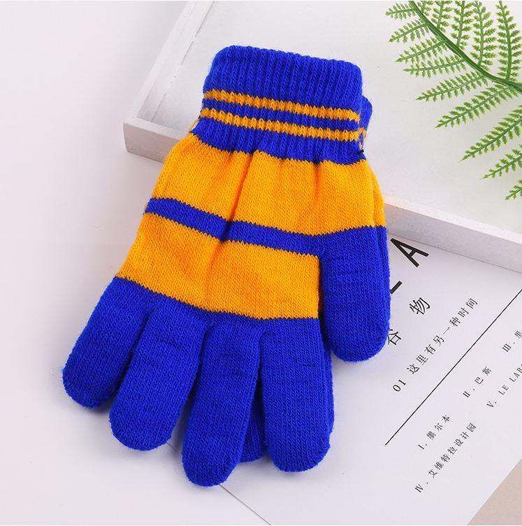 Перчатки полосатые детские желто-синие