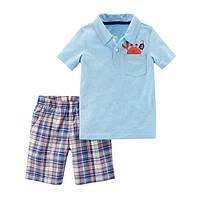 Набор футболка-поло и шорты для мальчика Carters краб в кармашке