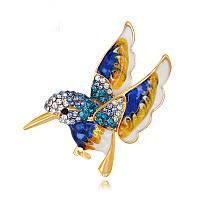 Позолоченная брошь «Волшебная колибри» синяя, фото 1