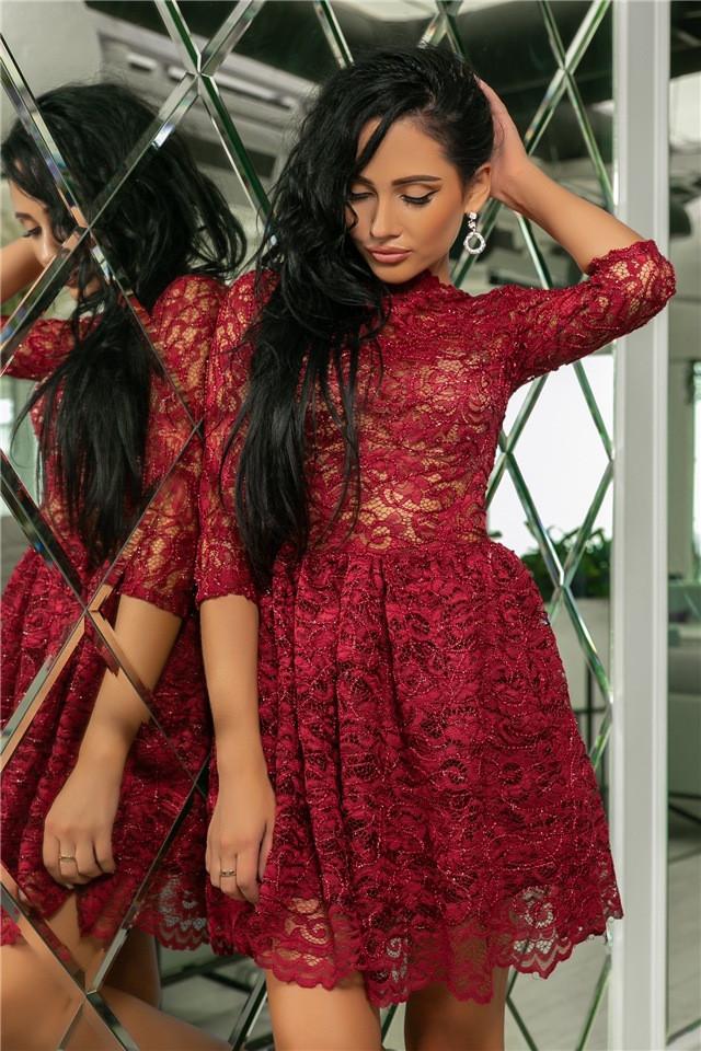 Женское Платье, цвет - Гранат (141)721-1. (5 цветов) Ткань: турецкое кружево + трикотажная подкладка. Размеры: 42, 44, 46, 48, 50.