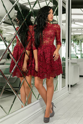 Женское Платье, цвет - Гранат (141)721-1. (5 цветов) Ткань: турецкое кружево + трикотажная подкладка. Размеры: 42, 44, 46, 48, 50.  , фото 2