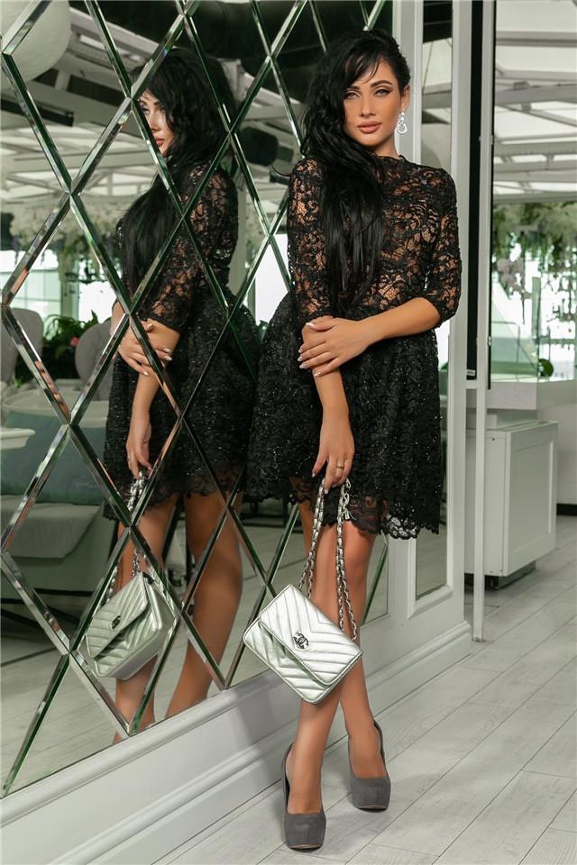 Женское Платье, цвет - Чёрный (141)721-2. (5 цветов) Ткань: турецкое кружево + трикотажная подкладка. Размеры: 42, 44, 46, 48, 50.