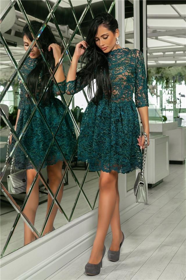 Женское Платье, цвет - Изумруд (141)721-3. (5 цветов) Ткань: турецкое кружево + трикотажная подкладка. Размеры: 42, 44, 46, 48, 50.