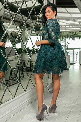 Женское Платье, цвет - Изумруд (141)721-3. (5 цветов) Ткань: турецкое кружево + трикотажная подкладка. Размеры: 42, 44, 46, 48, 50.  , фото 2