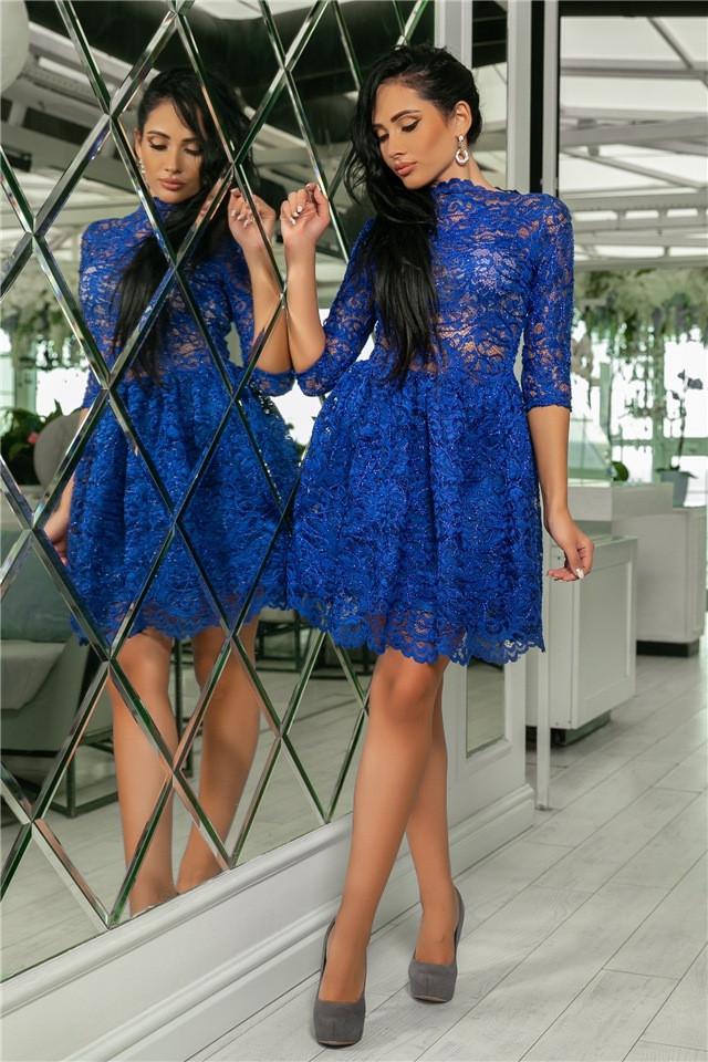 Женское Платье, цвет - Электрик (141)721-4. (5 цветов) Ткань: турецкое кружево + трикотажная подкладка. Размеры: 42, 44, 46, 48, 50.