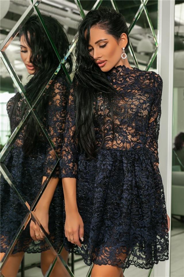 Женское Платье, цвет - т.Синий (141)721-5. (5 цветов) Ткань: турецкое кружево + трикотажная подкладка. Размеры: 42, 44, 46, 48, 50.
