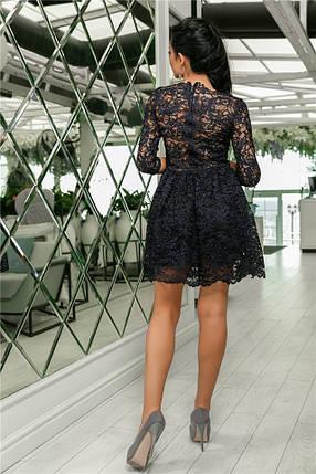Женское Платье, цвет - т.Синий (141)721-5. (5 цветов) Ткань: турецкое кружево + трикотажная подкладка. Размеры: 42, 44, 46, 48, 50.  , фото 2