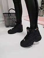 Женские  зимние кроссовки Fila Фила черные  (реплика), фото 1