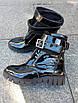 Черные женские ботинки на байке из натуральной лакированной кожи, фото 2
