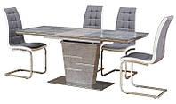 Раскладной стол ТМL-540 бетон стеклокерамика и вставка серое МДФ, колонна - серый бетон МДФ