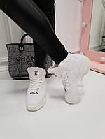 Женские  зимние кроссовки Fila Фила белые  (реплика), фото 1