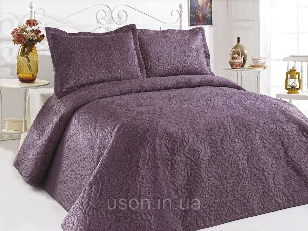 Велюровое покрывало евро размера ТМ Le vele цвет фиолетовый