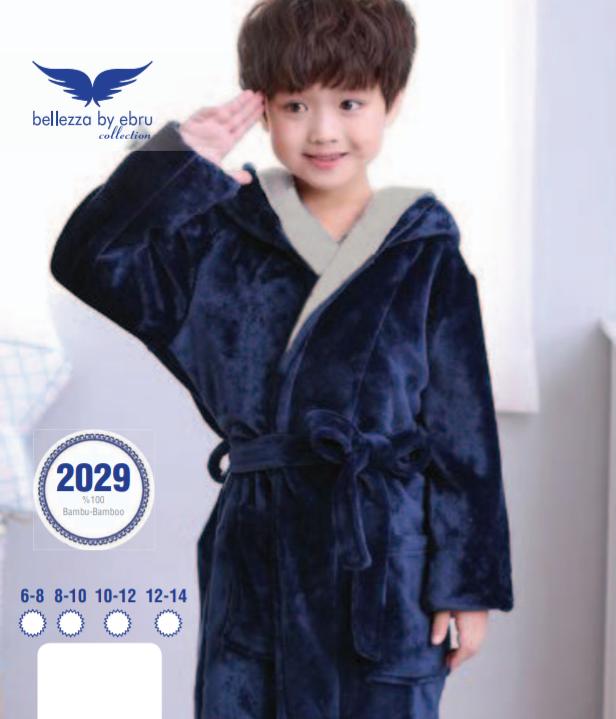 Підлітковий халат для хлопчика Bellezza by Ebru синього кольору (бамбуковий) № 2029