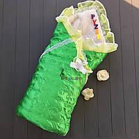 Конверт для новорожденных на выписку и в коляску на меху атласный зеленый, фото 1