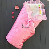 Конверт для новорожденных на выписку и в коляску на меху атласный розовый
