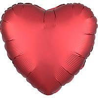 Фольгированный шар сердце сатин красное 45 см (Anagram)
