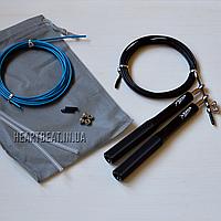 Скоростная скакалка KETIA Black (алюминиевые ручки, запасной кабель)