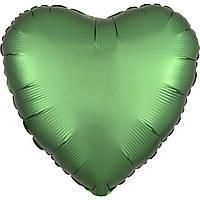 Фольгированный шар сердце сатин зелёное 45 см (Anagram)