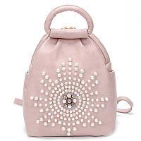 Рюкзак женский из экокожи c бусинами (розовый), фото 1