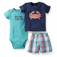 Набор футболка, шорты и бодик для мальчика Carters краб