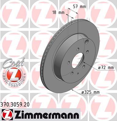 Тормозной диск ZIMMERMANN 370305920 на MAZDA CX-7 (ER)