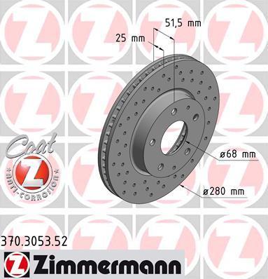 Тормозной диск ZIMMERMANN 370305352 на MAZDA AXELA (BM)