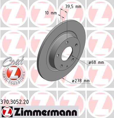 Тормозной диск ZIMMERMANN 370305220 на MAZDA ATENZA седан (GJ, GH)