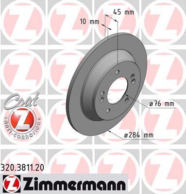 Тормозной диск ZIMMERMANN 320381120 на KIA RONDO IV (RP)