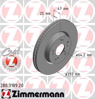 Тормозной диск ZIMMERMANN 280318920 на HONDA CIVIC IX (FK)