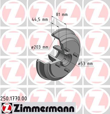 Тормозной барабан ZIMMERMANN 250177000 на FORD IKON V (JH_, JD_)