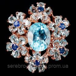Серебряное позолоченное кольцо 925 пробы с натуральным голубым топазом и сапфиром Размер 16