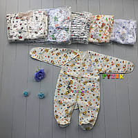 Человечек для новорожденного байковый (100% хлопок, начес) 56, 62 р., цвет на выбор