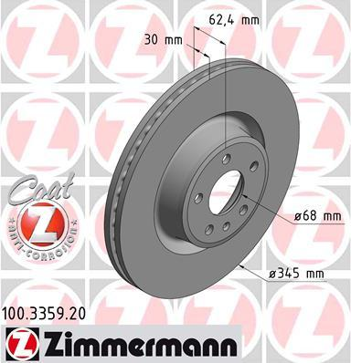 Тормозной диск ZIMMERMANN 100335920 на AUDI A6 Allroad (4GH, 4GJ)