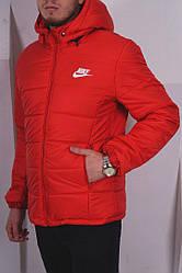 Мужская зимняя куртка Nike красного цвета (люкс копия)