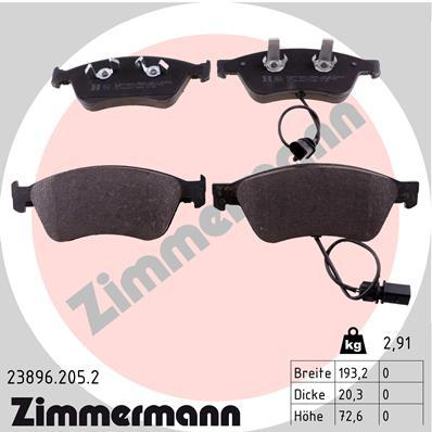 Комплект тормозных колодок, дисковый тормоз ZIMMERMANN 238962052 на VW PHAETON седан (3D_)