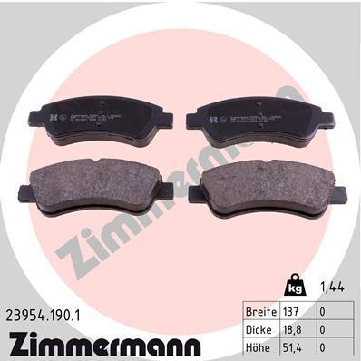 Комплект тормозных колодок, дисковый тормоз ZIMMERMANN 239541901 на PEUGEOT 208