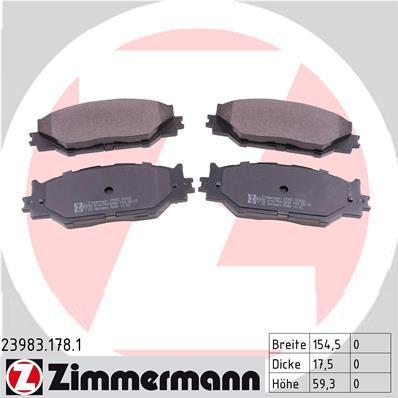 Комплект тормозных колодок, дисковый тормоз ZIMMERMANN 239831781 на LEXUS IS II седан (GSE2_, ALE2_, USE2_)