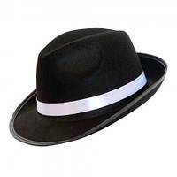 Шляпа Мужская Черная фетр с белой лентой